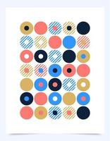 Vector Retro graphic design cover or poster with circle dot shapes. Cool vintage shape compositions. Music abstract vinyl disc