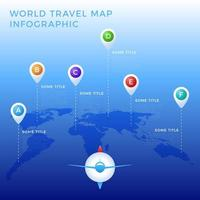 World travel map infographic template, color icons as data visualization. World map infographic vector template, color icons as data visualization