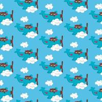 Flying airplane with couple teddy bear pattern design vector