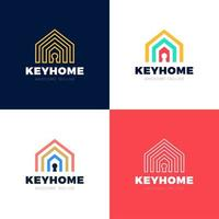 Home Protection Vector Logo Set, House And Key Hole Icon