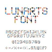 Vector Pixel Art Alphabet. Colorful Letters Consist of Modules. Letters from Strips, squares and dots. Geometric Alphabet for Posters like electronic scoreboard