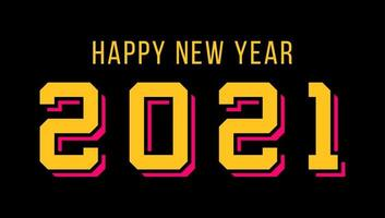 Sport style modern professional happy new year typography 2021 number design for greeting card vector