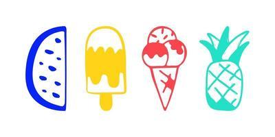 Colección de ilustraciones vectoriales de sandía y piña de helado dibujadas a mano aisladas sobre fondo vector