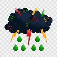Nuclear cloud and rain vector Illustrator. Radioactive icon with green drop and thunder Acid fallout vector design.