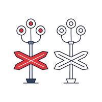 tren barrera luz stock vector icono, estilo de dibujos animados. Icono de barrera de tren en estilo de dibujos animados aislado sobre fondo blanco. símbolo de la cerca