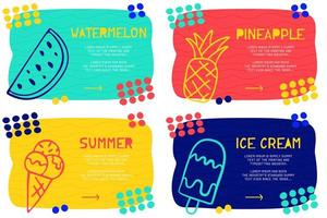 Set Abstract landing page pattern with different element, text block and doodle ice cream, watermelon, pineapple icon. Vector fun background