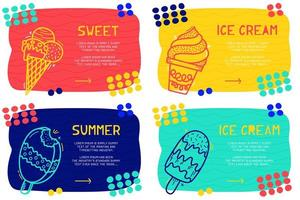 Set Abstract landing page pattern with different element, text block and doodle ice cream icon. Vector fun background