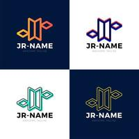 JR monogram logo inspirations set, vector letters logo template. Clean and creative designs