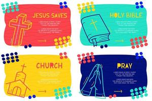 Abstract landing page pattern with different element, text block and doodle holy bible, pray, cross, church icon. Vector fun background
