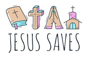 Linda colección de doodle de tema cristiano dibujado a mano en fondo blanco aislado y texto Jesús salva vector