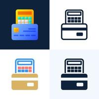 Calculator and credit card vector stock icon set. The concept of paying taxes, calculating expenses and income, paying bills. Front side of card with calculator.