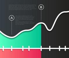 Abstract financial chart with uptrend line graph on black background. Vector illustration