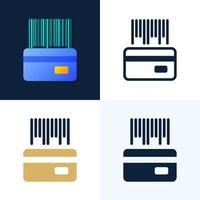 código de barras con un conjunto de iconos de stock de vector de tarjeta de crédito. el concepto de pagos sin contacto en el sector bancario. el reverso de la tarjeta con un código de barras.