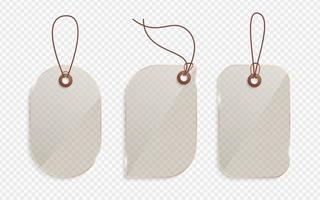 etiqueta de precio de vidrio dorado realista. etiqueta de vidrio, papel venta etiquetas maqueta etiquetas en blanco plantilla regalo de compras pegatinas vacías con cuerdas etiquetas conjunto de vectores