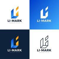 webli li línea abstracta letra del alfabeto combinación vector logo icono diseño