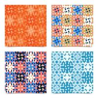 Set Abstract multicolored pixels squares textured background. Seamless vector pattern.