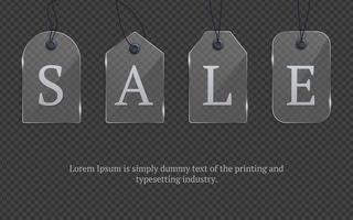 Precio realista de vidrio plateado con ilustración de vector de stock de venta de texto etiqueta de vidrio, etiquetas de venta de papel plantilla de etiquetas de maqueta regalo de compras con etiquetas de cuerdas y espacio para copiar texto