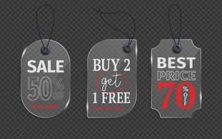 Realistic glass price tag vector stock. Glass label, paper sale tags mockup labels template shopping gift stickers with ropes tags vector set