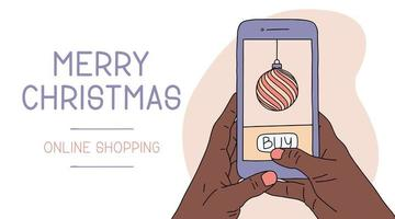 African Woman or man hand holding smartphone. Christmas Online shopping. New year holiday flat cartoon illustrations. Vector illustration