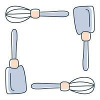 kitchen spatula arranged in a square frame vector stock illustration in doodle style