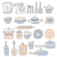 Collection of glassware, kitchenware and cookware. Set of kitchen utensils for home cooking and tools for food preparation isolated on white background. Colored vector illustration in doodle style.