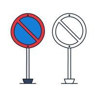 ninguna señal de tráfico del círculo de estacionamiento. icono de vector en estilo de dibujos animados doodle con contorno.