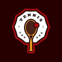 Logotipo de tipografía de deporte profesional moderno de vector de tenis en estilo retro. emblema de diseño vectorial, insignia y diseño de logotipo de plantilla deportiva