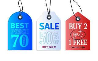 Realistic colorful paper price tag with text stock. vector