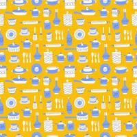 Kitchen seamless pattern of decorative tableware items. Ceramic utensils or crockery - cups, dishes, bowls, pitchers. Vector illustration in flat style with colorful texture.