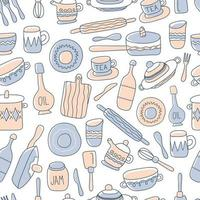 Kitchen seamless pattern of decorative tableware items. Ceramic utensils or crockery - cups, dishes, bowls, pitchers. Vector illustration in flat style with outline texture.