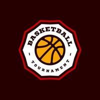 tipografía profesional moderna baloncesto deporte estilo retro vector emblema y plantilla de diseño de logotipo. saludos divertidos para la ropa, tarjeta, insignia, icono, postal, banner, etiqueta, pegatinas, impresión