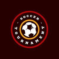 tipografía de deporte profesional moderno de fútbol o fútbol en estilo retro. emblema de diseño vectorial, insignia y diseño de logotipo de plantilla deportiva