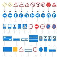 Vector mega set of cartoon road signs. Hand-drawn traffic sign icons isolated on white background.