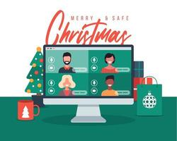 Christmas online greeting. people meeting online together with family or friends video calling on pc computer virtual discussion. Merry Safe Christmas office desk workplace, flat vector illustration