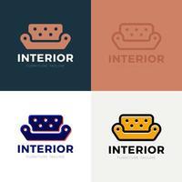 Plantilla de vector de signo de negocio de muebles de sofá interior para tienda de muebles, plantilla de diseño de boutique de decoración del hogar. ilustración vectorial