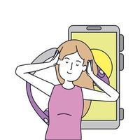 mujer joven, con, auriculares, y, smartphone
