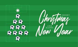 Christmas and new year greeting flat cartoon card. Creative Xmas tree made by football soccer ball on football field background for Christmas and New Year celebration. Sport greeting card