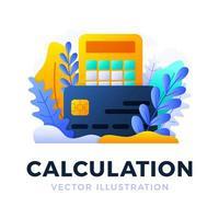 calculadora y tarjeta de crédito vector stock ilustración aislada sobre fondo blanco. el concepto de pagar impuestos, calcular gastos e ingresos, pagar facturas. anverso de la tarjeta con calculadora.