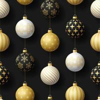 Realistic Christmas seamless pattern with gold, white and black tree ball. simple new year pattern Vector illustration