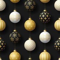 Navidad realista de patrones sin fisuras con bola de árbol de oro, blanco y negro. Ilustración de vector de patrón de año nuevo simple