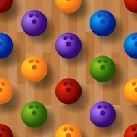 patrón de bolos de vector transparente. pista de bolos, pelota, bolos en el suelo. ilustración vectorial
