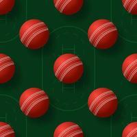 Cricket ball seamless pettern vector illustration. realistic cricket ball seamless pattern design