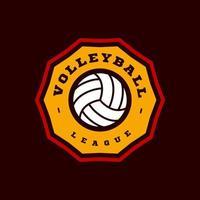 logo de vector de voleibol. tipografía profesional moderna deporte estilo retro vector emblema y plantilla de diseño de logotipo. logo colorido de voleibol