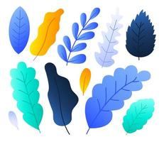 Flat abstract colorful forest leaves set vector stock illustration. Floral elements for summer, spring autumn floral design. Hand drawn plants