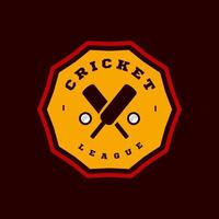 Modern professional Typography cricket sport super hero style vector emblem and template logo design with ball. Funny greetings for clothes, card, badge, icon, postcard, banner, tag, stickers, print.
