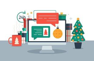 Christmas chatting on pc computer. Chat messages on computer online vector illustration, flat cartoon workspace or working desk laptop pc with chatting bubble notifications