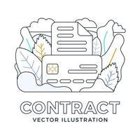 documento bancario con ilustración de stock de vector de tarjeta de crédito aislado en un fondo blanco. el concepto de celebrar un contrato bancario. anverso de la tarjeta con documento de texto. estilo de contorno
