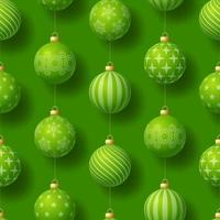 Realistic Christmas seamless pattern with geometric motifs. Green bauble ball on green background simple new year pattern Vector illustration