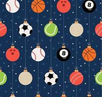 Sport Christmas seamless pattern. Christmas pattern with sport baseball, basketball, football, tennis, cricket, soccer, volleyball, bowling, billiard balls hang on a thread. Vector illustration.