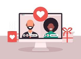 concepto de aplicación de citas en línea con hombre y mujer. Ilustración de vector plano con mujer africana y hombre calvo blanco en la pantalla del portátil.